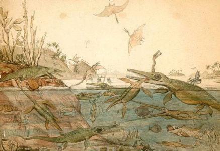 Henry De la Beche, Duria Antiquior, a more ancient Dorset, water color, 1830