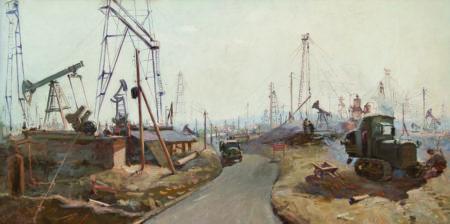 "Hafiz Mammadov. ""Oil landscape"".  Oil on canvas. 100,1x191 cm. 1953.  Azerbaijan National Museum of Art"